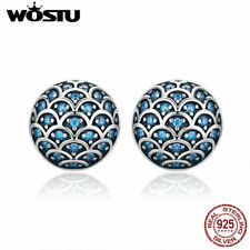 Wostu Unique Texture Blue CZ Round Earring Stud 925 Sterling Silver Diameter 8Mm