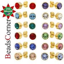 Surgical 316L Stainless Steel Gold Birthstone Stud Earrings Zircon Men Women 2PC