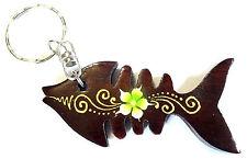 Porte clé clef Poisson Bois Artisanal Fleur wooden key holder fish cle