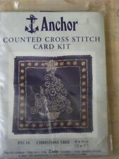 ANCHOR CHRISTMAS TREE COUNTED CROSS STITCH CARD KIT PXC16 SKILL EASY 8 x 8cm