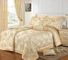 LUXURY OPULENT FLORAL JACQUARD CREAM BEDSPREAD SET OR CURTAINS