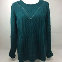 Hippie Rose Junior's Cable Knit Sweater Malachite Green Size Large