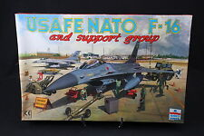 YA003 ESCI 1/48 maquette avion 4078 Usafe Nato F-16 and support group 370*240mm