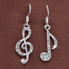 Stylish Jewelry Rhinestone Music Note Drop Earrings Crystal Dangle Accessories