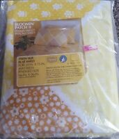 VTG Sears Bloomin Patch II Yellow Twin Bed Flat Sheet 66 x 96 Percale Perma Prs