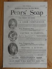 Advert c1878 A.& F. PEARS TRANSPARENT SOAP Good Complexion