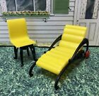 Plasco Yellow Chair & Chaise Vintage Dollhouse Furniture Renwal Plastic 1:16