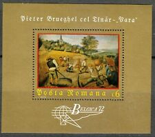 """Romania 1972 MNH Mi Block 96 Sc 2330 """"Summer"""" by Peter Brueghel, the Younger **"""