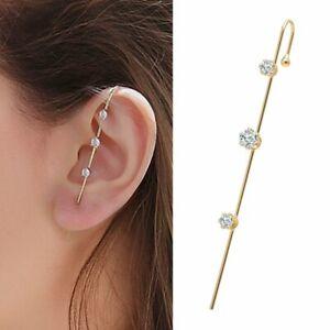 Bohemian Wedding Ear Wrap Crawler Crystal Cuff Ear Hook Woman Earrings Jewelry