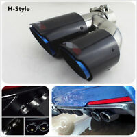 1x Right 63mm-89mmEdge Blue 100%Carbon Fiber Car Dual Pipe Exhaust Muffler Tip