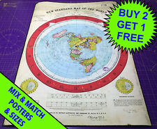 Gleason's New Standard World Map 1892 • Poster Print • Flat Earth • A5 - A1 size