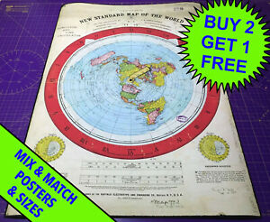GLEASON'S NEW STANDARD MAP OF THE WORLD 1892 • POSTER • FLAT EARTH • A5-A1 SIZE