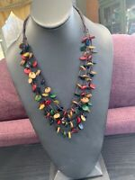 Vintage Bohemian Multi Color Wood Beaded Multi 4 Strand Necklace  24""