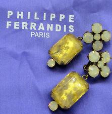 Estate Vintage Large Signed PHILIPPE FERRANDIS Paris France Lucite Clip Earrings