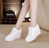 Womens Wedge Hidden Heels Platform Sneakers Lace Up Solid Shoes Casual Fashion S