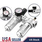 G1/2' Air Compressor Filter Oil Water Separator Trap Tools W/ Regulator Gauge US