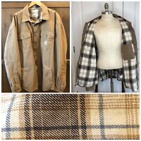 Carhartt Canvas Snap Button Men's 2XL Tan Shirt Jacket Flannel Lined Shacket