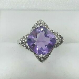 10ct White Gold 3.10cts Amethyst and Diamond Ring, not 9ct, UK size N