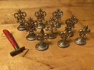 Vintage Brass Sealing Wax Stamp Seal 10Pc Lot