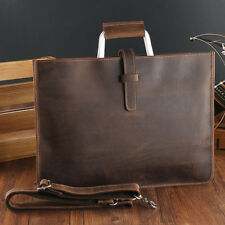 Vintage Leather Man Bag Business Briefcase Slim Attache Document Handbag Brown