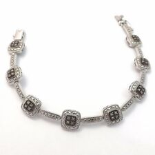 """Sterling Silver Deco Style Champagne Diamond Square Link Tennis Bracelet 7.5"""""""