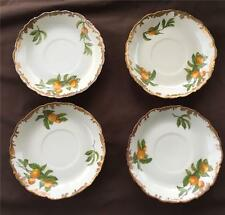 4 ANTIQUE LIMOGES GREENLEAF & CROSBY GUILDED FLORIDA ORANGE SAUCERS