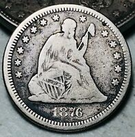 1876 Seated Liberty Quarter 25C Higher Grade Centennial US Silver Coin CC5822
