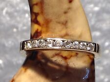 9ct YELLOW GOLD 9 STONE CZ SET HALF ETERNITY RING - SIZE  L 1/2. Ref 2202.2