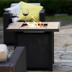 """32"""" 50000BTU Outdoor Gas Fire Pit Propane Gas Heater Patio Table with Blue glass"""
