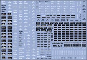 MODELMASTER BR302 BR WAGON NUMBERS SET 2 1948-65 DECALS / WATERSLIDE TRANSFERS