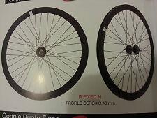 coppia di ruote fixed nero cerchio con profilo da 43mm nuove