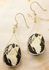 R268 Butterfly Cameo 14k Rolled Gold Earrings