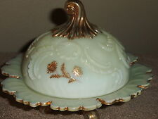 Northwood Victorian Custard Glass Louis XV Covered Butter Dish