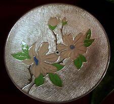 Metal Compote Pedestal Dish-Purple Enamel Flowers on Scored Silver Background