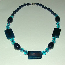 "BEAUTIFUL REAL BLUE AGATE & FACETED GLASS NECKLACE SILVER PLATED 20"" MERMAID"