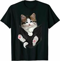Hip Hop Kitty Cat Wearing Gold Chain Hat Beanie Glasses Funny T-Shirt Tee