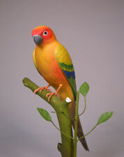 "11"" Sun Conure Original Bird Carving Wood/Birdhug"