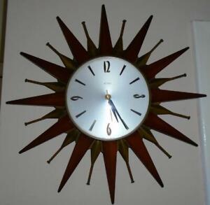 Vintage Mid Century Modern Metamec Starburst Sunburst Teak Copper Wall Clock VGC