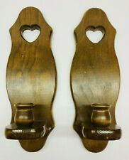 "Vintage Pair Of Wooden Candle Wall Sconces With Heart Pattern 13"" Long"