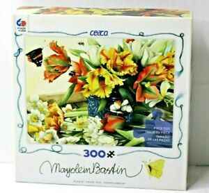 Ceaco Marjolein Bastin Jigsaw Puzzle Spring Flowers Tulips Daffodils 300 Pc NOS