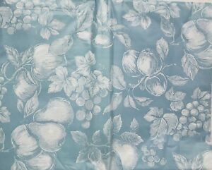 """Peva Vinyl Tablecloth 60"""" Round (seats 4-6 people) FRUITS ON BLUE #17, BH"""