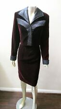 New listing Retro 90s 2 Pc Velvet & Quilted Sateen Trim Cropped Jacket Sheath Dress Suit 8