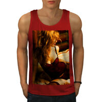 Wellcoda Lingerie Erotic Girl Mens Tank Top, Sexy Active Sports Shirt