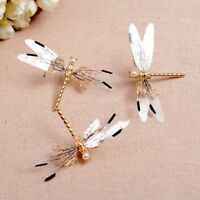 Hair Clip Pearl Bride Bridal Headdress Dragonfly Hairpins Wedding Gold Jewelry