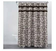 OPALHOUSE Botanical Print Shower Curtain 72x72 White Brown Cotton New