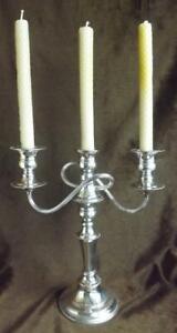 Vtg lge 3-branch English silverplate copper candelabrum/candelabra Candle Holder