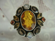 NICKY BUTLER NB GENUINE CITRINE MULTI GEMSTONE SIZE 12 STERLING SILVER RING AA15
