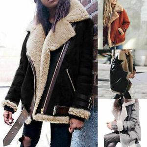 Winter Womens Fleece Fur Biker Aviator Jacket Coat Zipper Warm Lapel Outwear