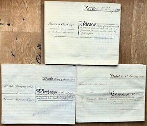 Orig 3 x 1840s indentures Preston Marsh/Wynne, Hereford, Clark, Thomas, Newman