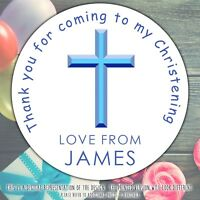 Personalised Baptism Christening Stickers Blue Cross labels party cone sheet